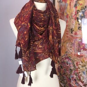 NWT tasseled silk + cotton World Market scarf